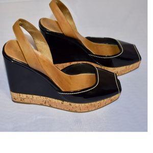 Authentic Prada Patent Leather Wedge Slingback 6.5